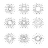 Hand Drawn vector vintage elements - sunburst (bursting) rays. Stock Photography