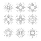 Hand Drawn vector vintage elements - sunburst (bursting) rays. Stock Photography