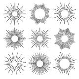 Hand Drawn vector vintage elements - sunburst (bursting) rays. Perfect for invitations, greeting cards, blogs, posters and more Stock Images