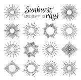 Hand Drawn vector vintage elements - sunburst (bursting) rays. Stock Photos