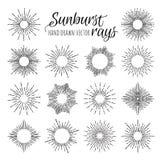 Hand Drawn vector vintage elements - sunburst (bursting) rays. Stock Photos