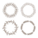 Hand drawn vector vintage floral wreathes Royalty Free Stock Image