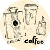 Hand drawn vector vintage illustration - coffee set. Royalty Free Stock Photos