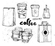 Hand drawn vector vintage illustration - coffee set. Stock Photo