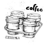 Hand drawn vector vintage illustration - Coffee to go Stock Photo