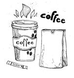 Hand drawn vector vintage illustration - Coffee to go Royalty Free Stock Image