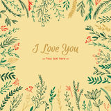 Hand Drawn vector vintage illustration - I Love You, card Royalty Free Stock Image