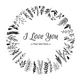 Hand Drawn vector vintage illustration - I Love You, card Royalty Free Stock Photography