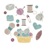 Hand drawn vector vintage illustration - Set of knitting Royalty Free Stock Photography