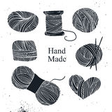 Hand drawn vector vintage illustration - Set of knitting Royalty Free Stock Photos