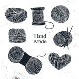 Hand drawn vector vintage illustration - Set of knitting Royalty Free Stock Photos