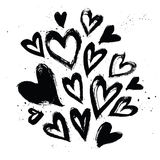 Hand drawn vector vintage texture. Collection with ink hearts. Stock Photo
