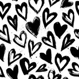 Hand drawn vector vintage texture. Seamless abstract pattern. With hearts. Ink and feather Vector Illustration