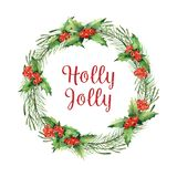 Watercolor Christmas Wreath stock illustration
