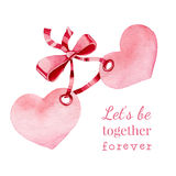 Hand drawn vector watercolor painted  hearts with Stock Photo