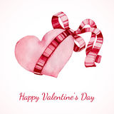 Hand drawn vector watercolor painted red heart Royalty Free Stock Photo