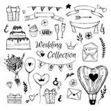 Hand Drawn vector Wedding collection. Perfect for invitations Stock Photos