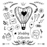 Hand Drawn vector Wedding collection. Royalty Free Stock Photos