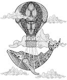 Hand Drawn Vector Whale Flying With Artistic Air Balloon In Clouds. Doodle Magic Zentangle Style. Child Illustration For Stock Photos