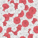 Vector white and red roses seamless pattern. Abstract delicate floral ornament. Hand drawn vector white and red roses seamless pattern. Abstract delicate floral Royalty Free Stock Photo