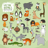 Hand-drawn vector wild animals collection Royalty Free Stock Images