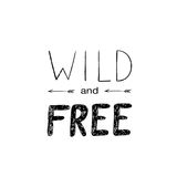 Hand drawn vector wild forest illustration. Tribal illustration with wild forest lettering Stock Photos
