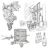 Hand drawn vector wine set Royalty Free Stock Photography