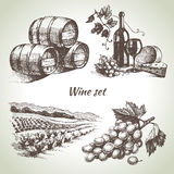 Hand drawn vector wine set Stock Photos