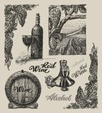 Hand drawn vector wine set Royalty Free Stock Photo