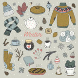 Hand drawn vector winter seamless pattern Stock Photography