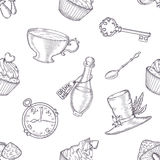 Hand drawn vector wonderland seamless pattern Stock Photos