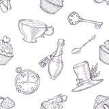 Hand drawn vector wonderland seamless pattern Stock Photos