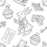 Hand drawn vector wonderland seamless pattern Royalty Free Stock Image