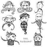 Hand Drawn vector zen Beard Set with funny faces and text hey, handsome stock illustration