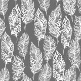 Hand drawn vector zentangle doodle white feathers Royalty Free Stock Photography