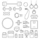 Hand-drawn vectorillustratie - Geschiktheid en Gezondheidspictogrammen Stock Foto