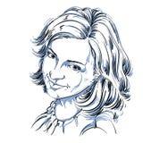 Hand-drawn vectorillustratie van mooie gelukkig en tevreden Royalty-vrije Stock Foto