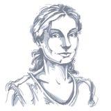 Hand-drawn vectorillustratie van mooie vriendelijke vrouw Monochro royalty-vrije illustratie