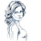 Hand-drawn vectorillustratie van mooie zekere vrouw Stock Fotografie