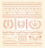 Hand-drawn vectorreeks van de lijngrens, ontwerpelement Stock Foto's