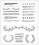 Hand-drawn vectorreeks van de lijngrens, ontwerpelement Stock Foto
