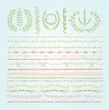 Hand-drawn vectorreeks van de lijngrens, ontwerpelement Stock Afbeeldingen