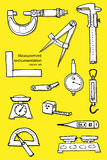 Hand-drawn vectorreeks van de metingsinstrumentatie stock illustratie