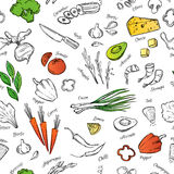 Hand drawn vectorseamless pattern  with vegetables, cheese, seaf Stock Images