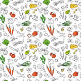 Hand drawn vectorseamless pattern  with vegetables, cheese, seaf Royalty Free Stock Photo
