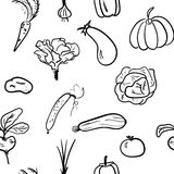 Hand drawn vegetable seamless pattern. Vector illustration. Hand drawn sketch watercolor vegetable seamless pattern. Organic healthy food vector illustration Royalty Free Stock Photography