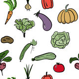 Hand drawn vegetable seamless pattern. Vector illustration. Hand drawn sketch watercolor vegetable seamless pattern. Organic healthy food vector illustration Stock Photography