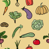 Hand drawn vegetable seamless pattern. Vector illustration. Hand drawn sketch watercolor vegetable seamless pattern. Organic healthy food vector illustration Stock Images