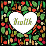 Hand drawn vegetables on black background and lettering health inside heart shape. Set of hand drawn vegetables on black background and lettering health inside Stock Photos