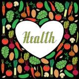 Hand drawn vegetables on black background and lettering health inside heart shape. Set of hand drawn vegetables on black background and lettering health inside Royalty Free Illustration